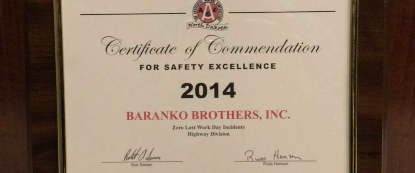 Certificate of Commendation - Safety Excellence 2014
