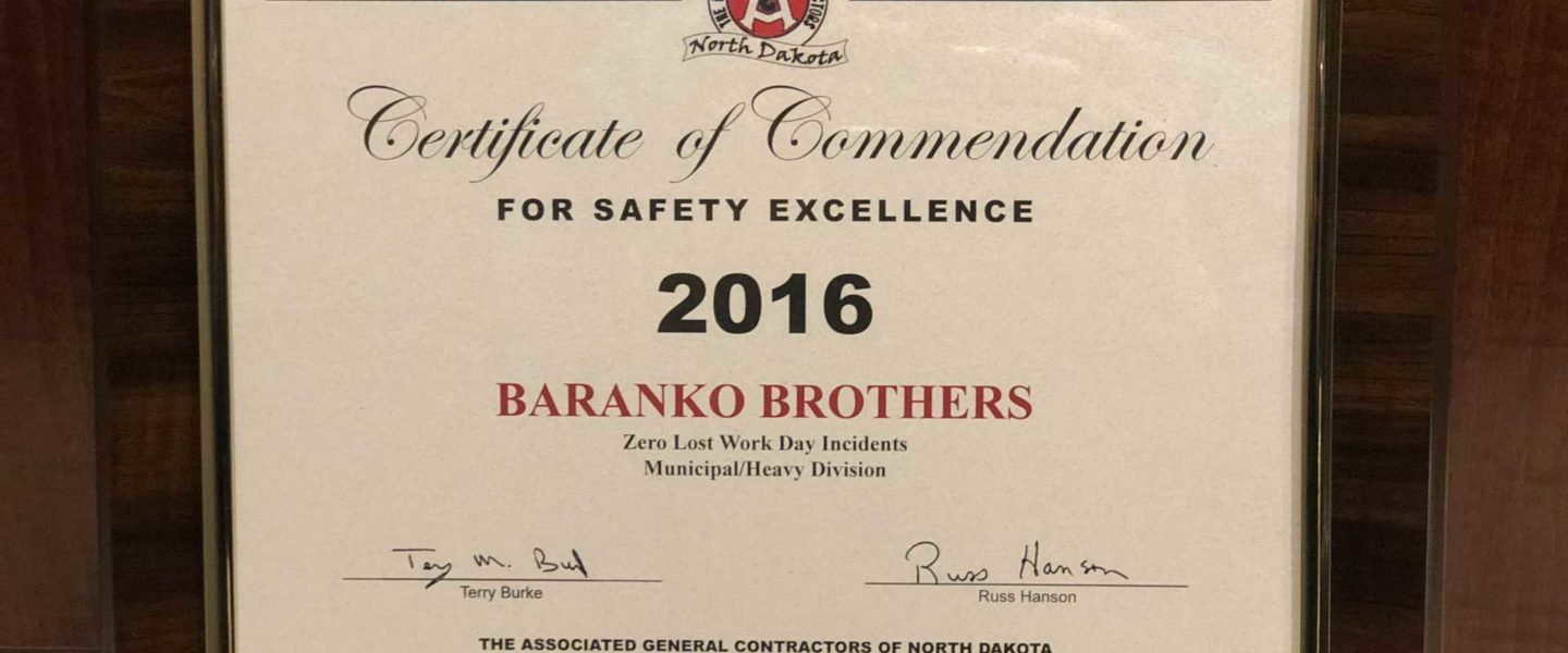 Certificate of Commendation - Safety Excellence 2016