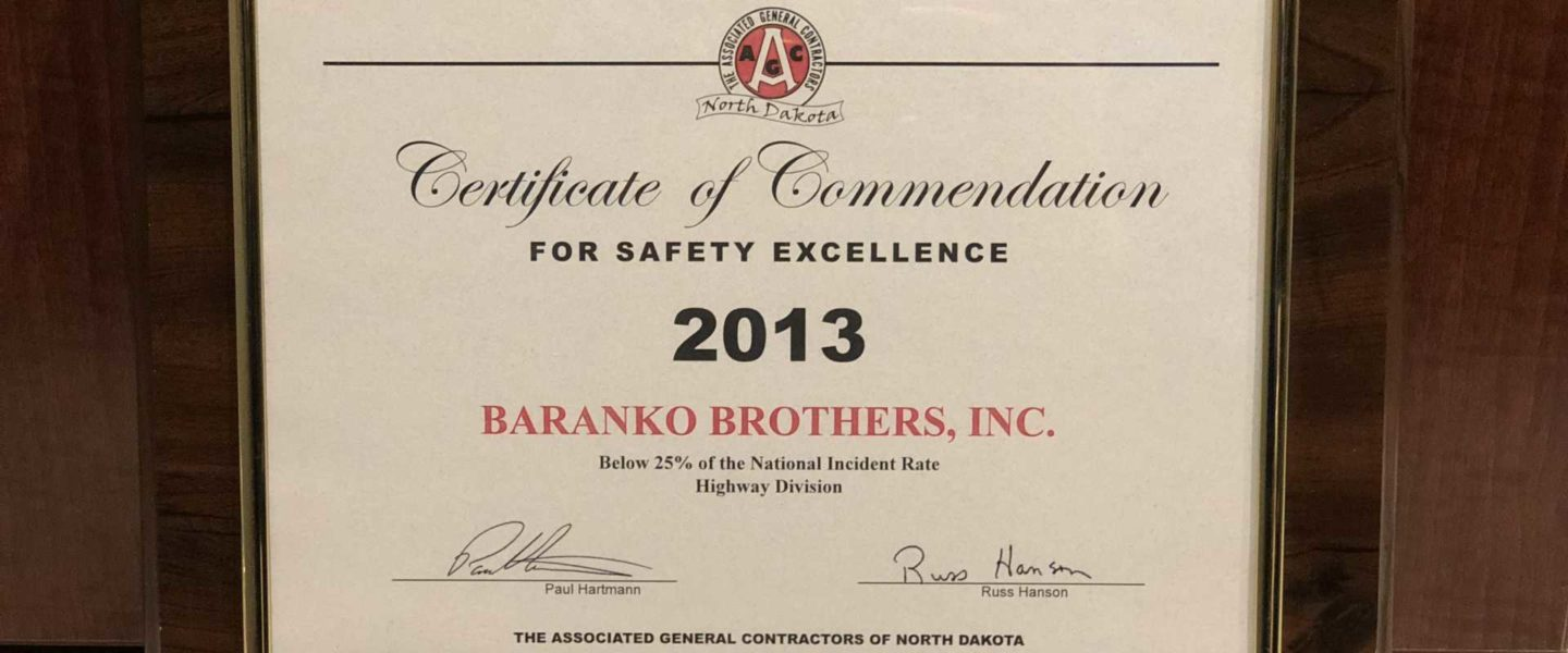 Certificate of Commendation - Safety Excellence 2013