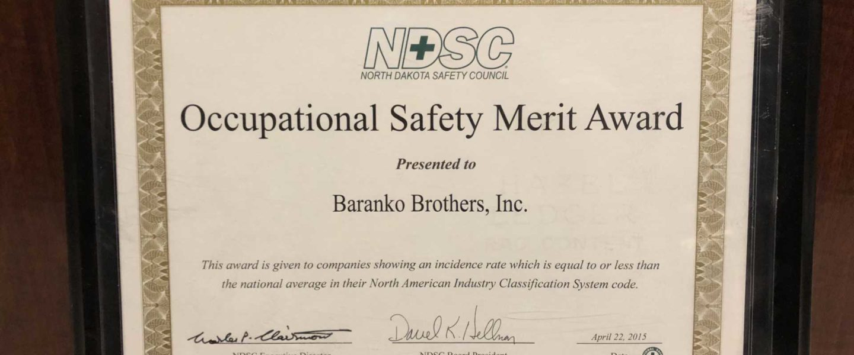 NDSC - Occupational Safety Merit Award 2015